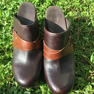 UGG Brown Leather Natalee Buckled Clogs Size 11